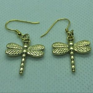 14k Gold Plated Dragonfly Earrings NWT